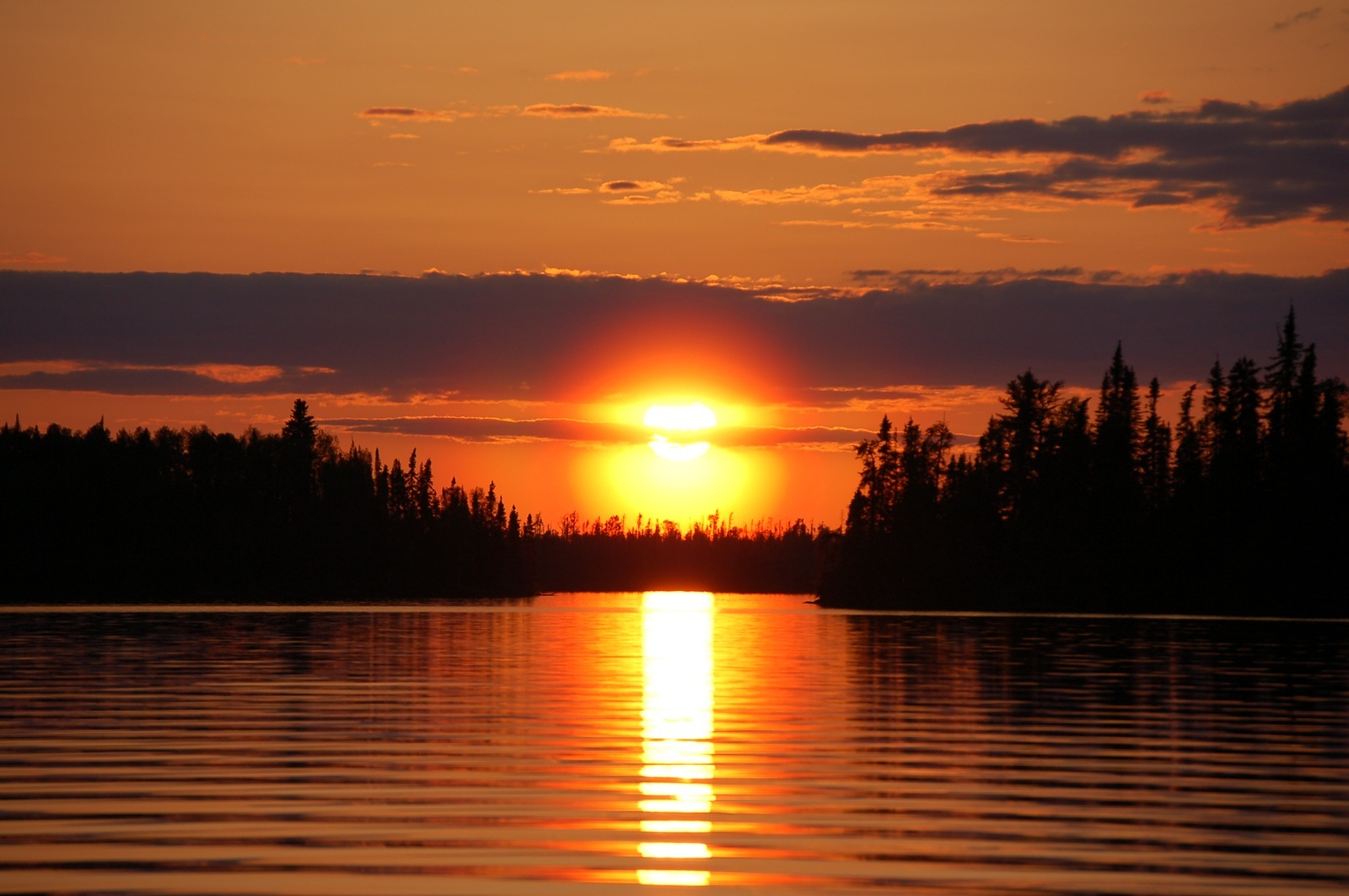 The vibrant orange sunset over Duncan Lake silhouettes pine trees across a glassy, reflective lake.