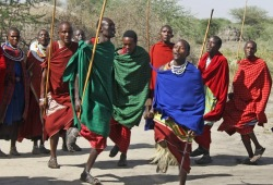 A group of local men in traditional dress of red, green, and blue cloths demonstrate a dance.