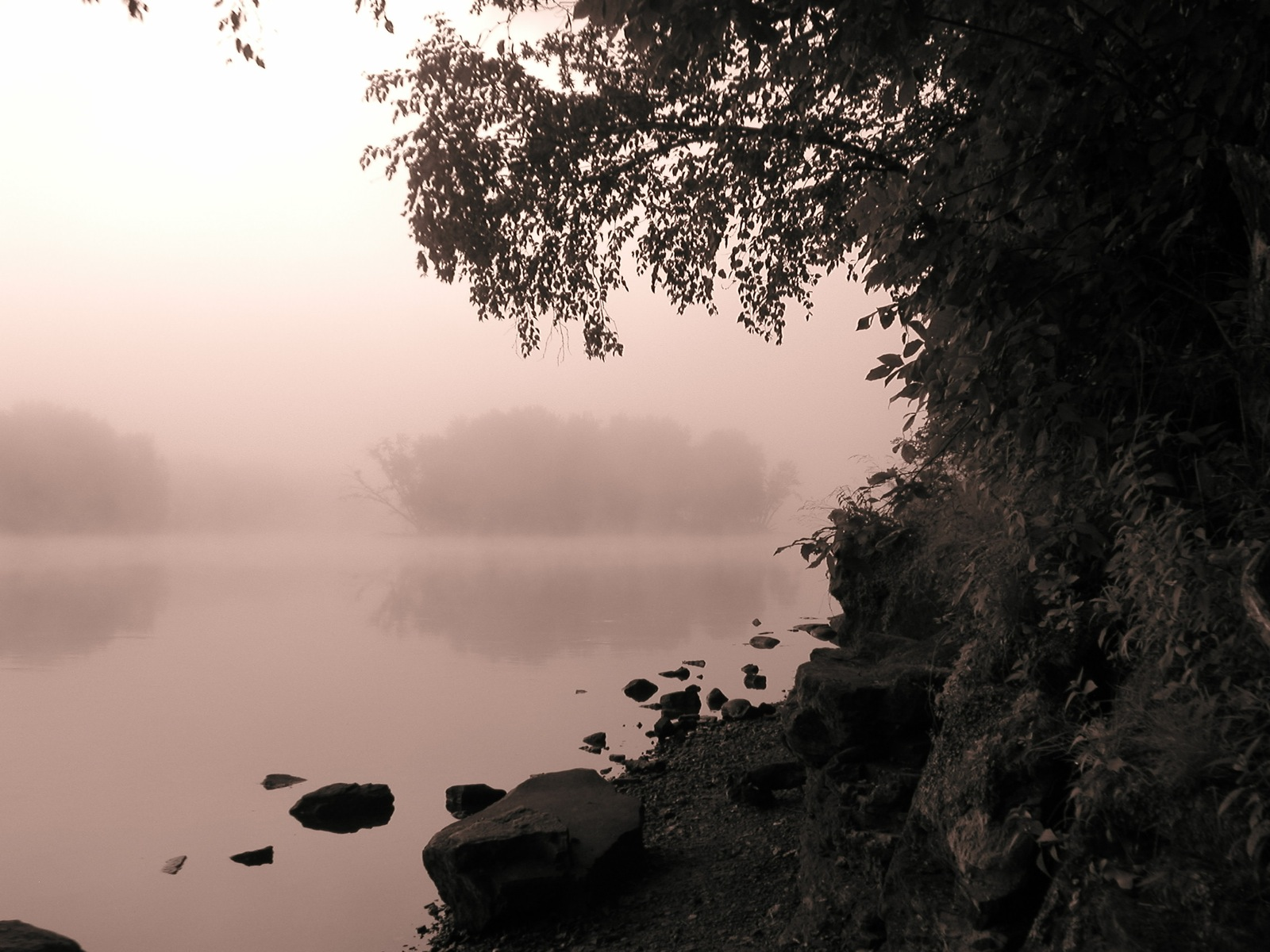Black and white photo of a shoreline and islands on a misty morning on the lake.