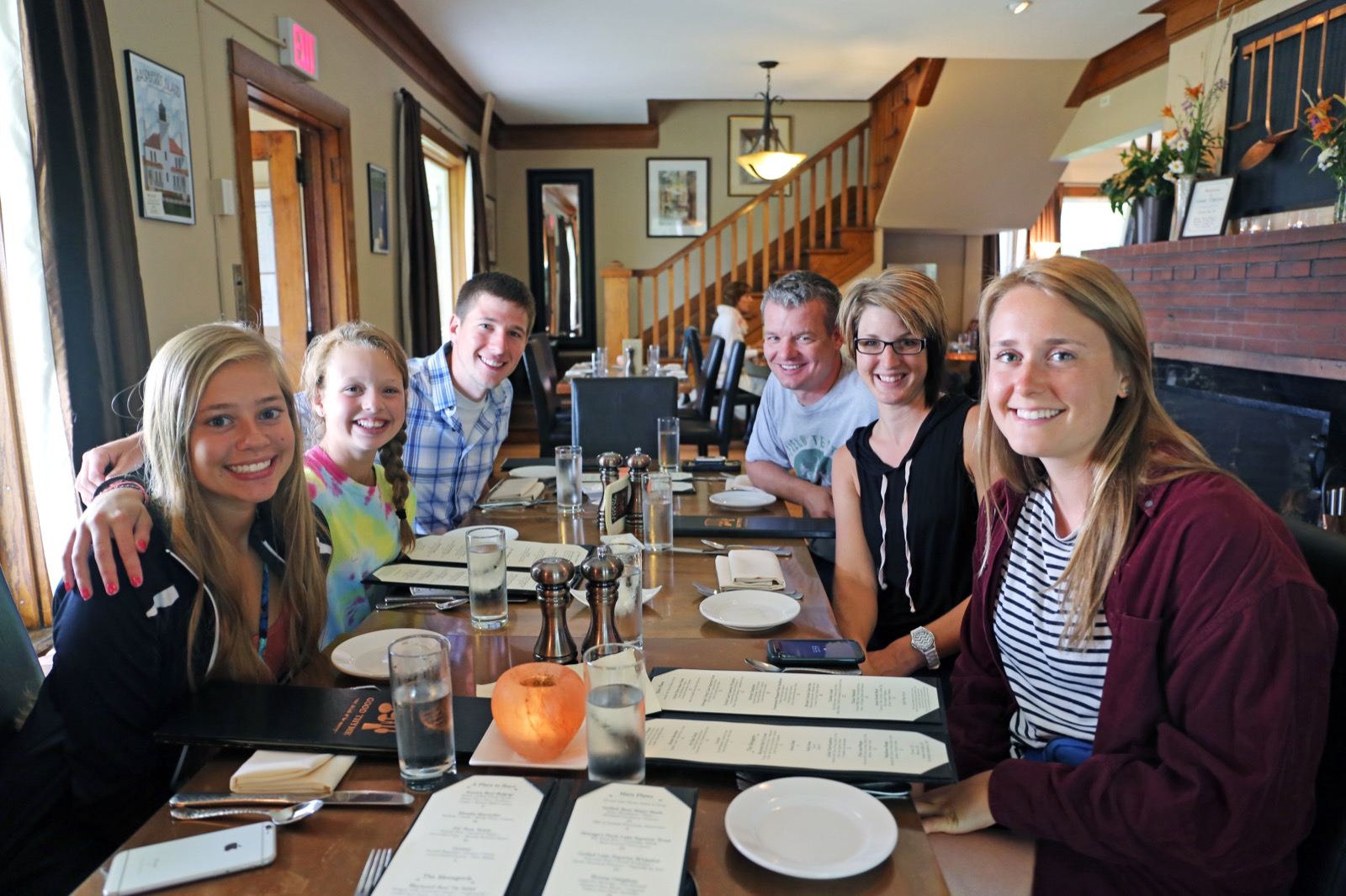 Family eats dinner at Good Thyme restaurant in Bayfield, Wisconsin.