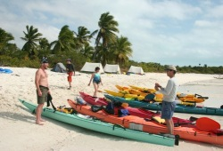 A line of colorful kayaks sits along the water line on a white sand beach as participants unload gear to their tents by a stand of palm trees.