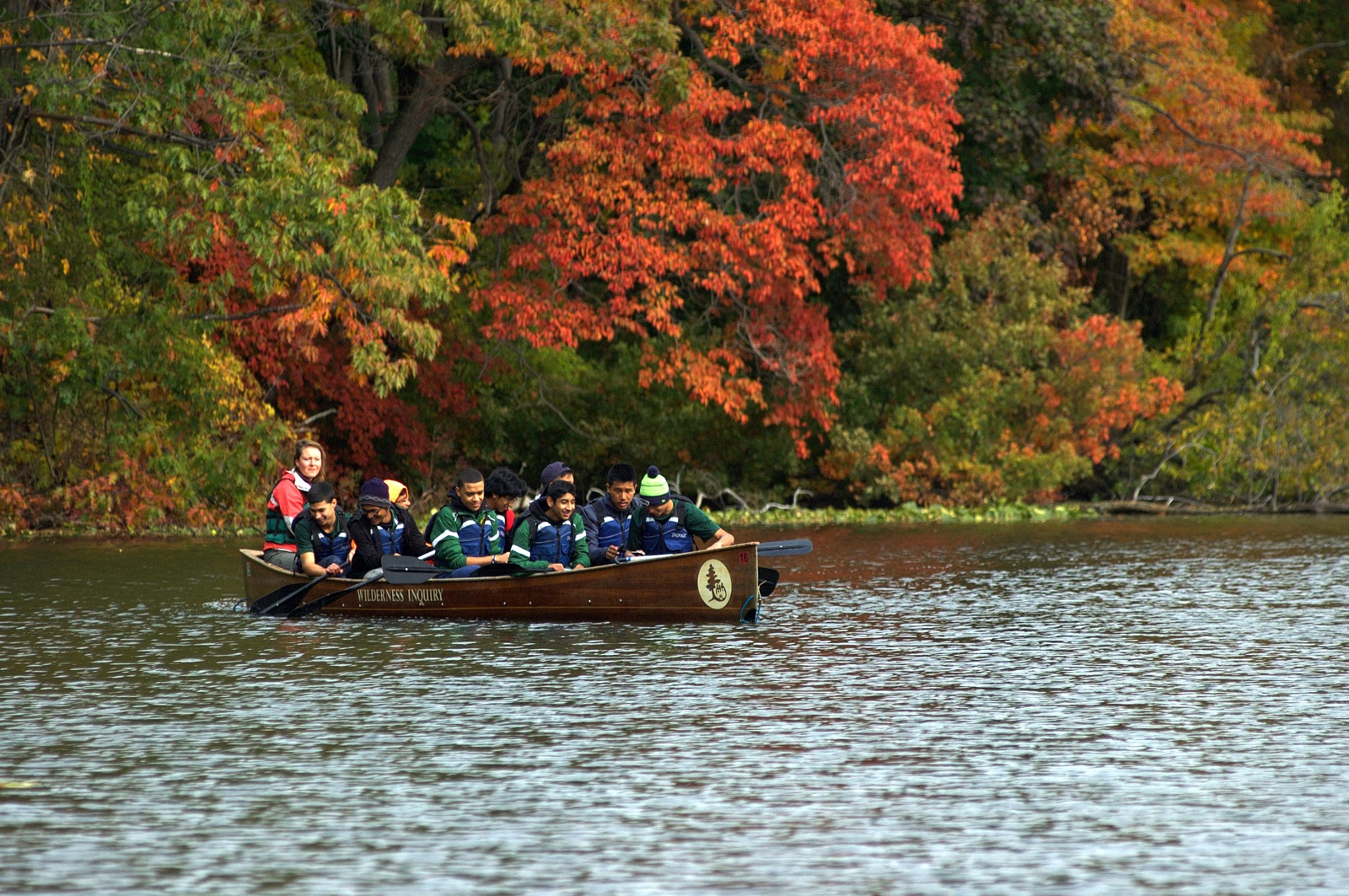 a group paddles a canoe along the Harlem River in the fall