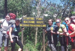 "A group of five women wearing backpacks stand around a sign that reads, ""Starting Point, Machame Route. Wishing you a good climb."""