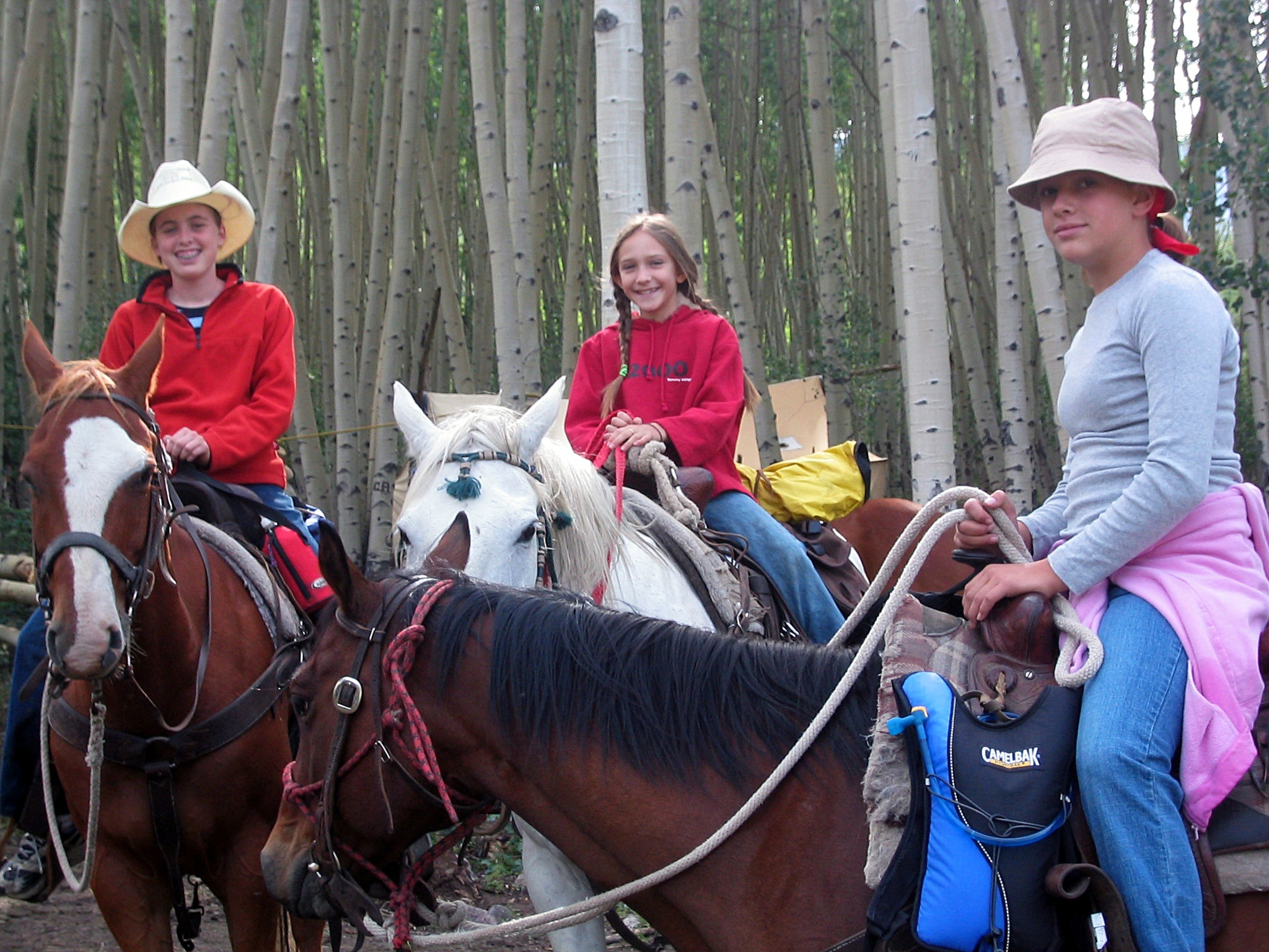 Three girls on horses ride through the woods of Ouray County, Colorado.