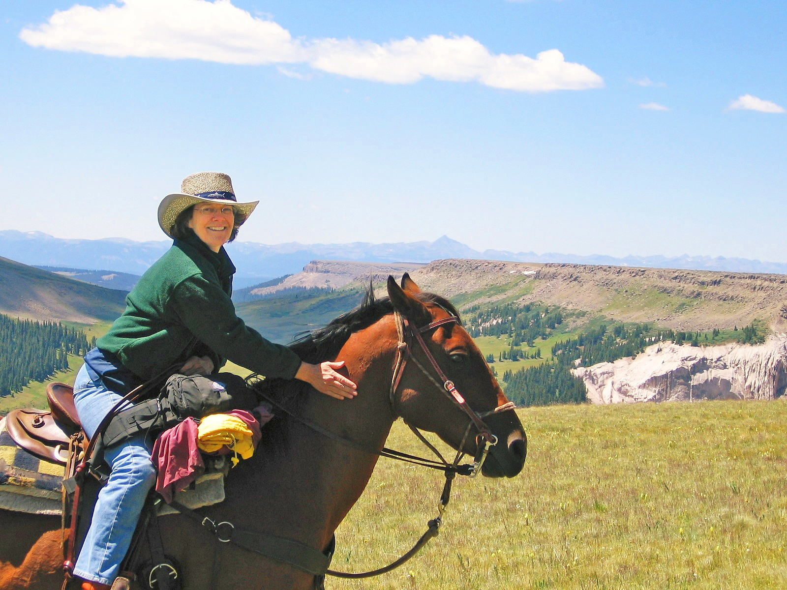 A woman poses on a chestnut-colored horse high in Rocky Mountains.