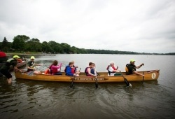 Participants launch off the shore ready to canoe in Southwest Minnesota