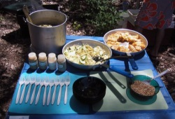 Pots and pans with food are set out on a blue table on Picnic Island, ready to be eaten.