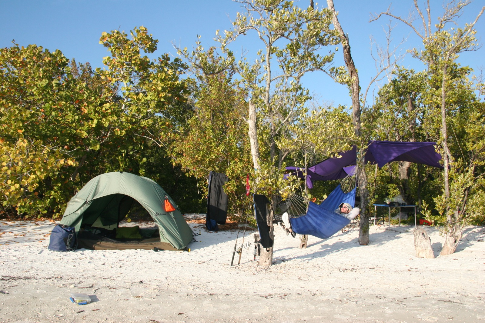 A participant naps in a hammock by his tent at c& in the Florida Everglades. & Florida Everglades 10000 Islands - Wilderness Inquiry