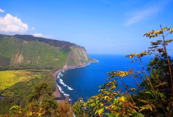 A beautiful vista along the ocean of Waipi'o Valley in Hawaii.