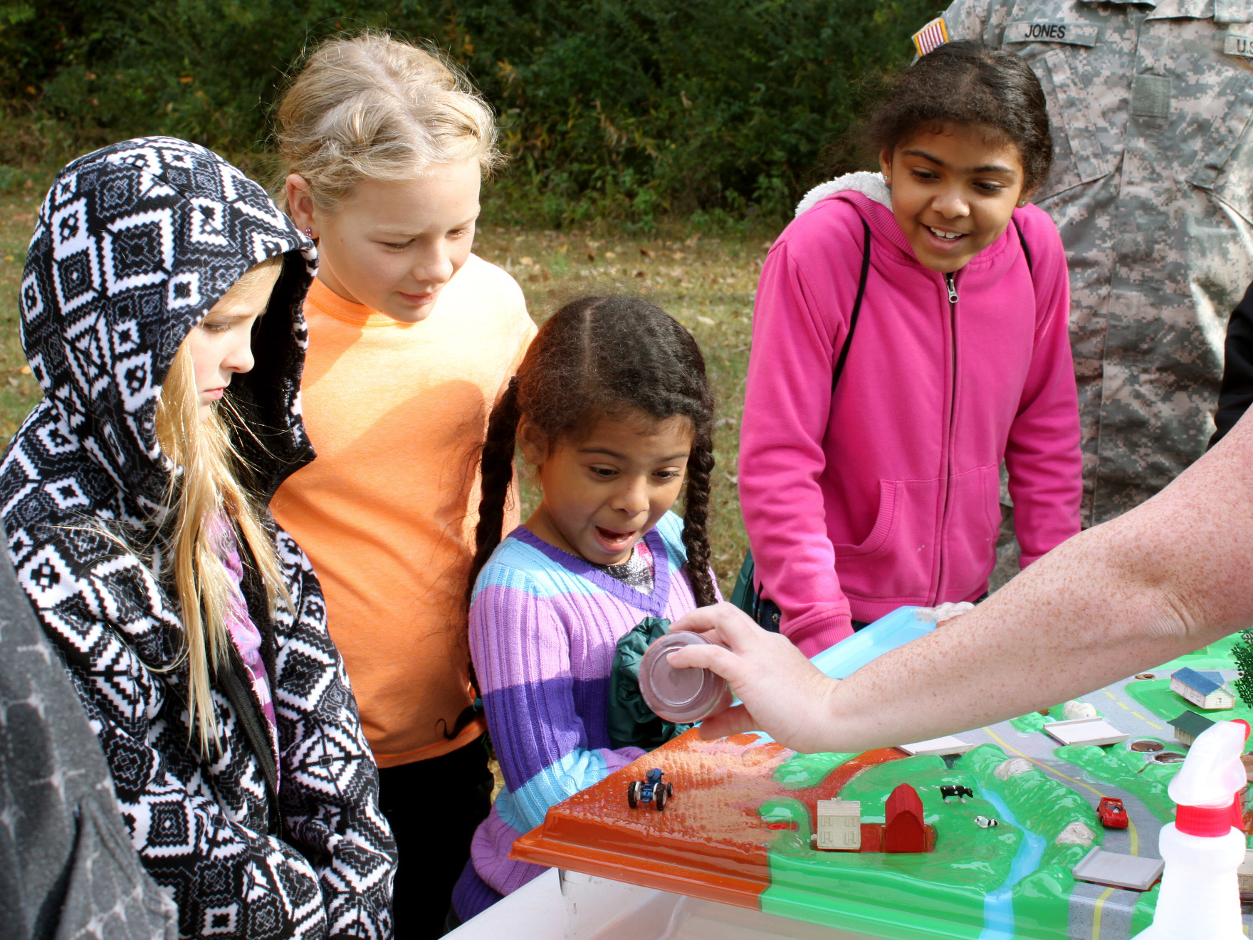 youth learn about the watershed as they try a watershed modeling activity