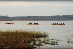 three canoes paddle off in the distant on a calm river