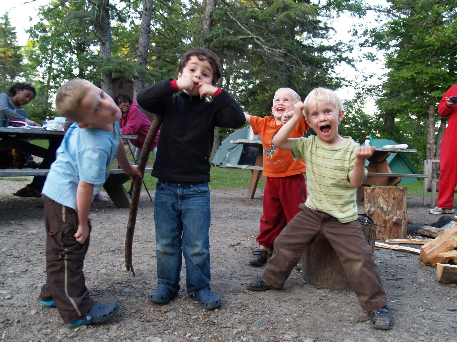 Four young boys get silly on Wilderness Inquiry's Itasca Family Adventure.