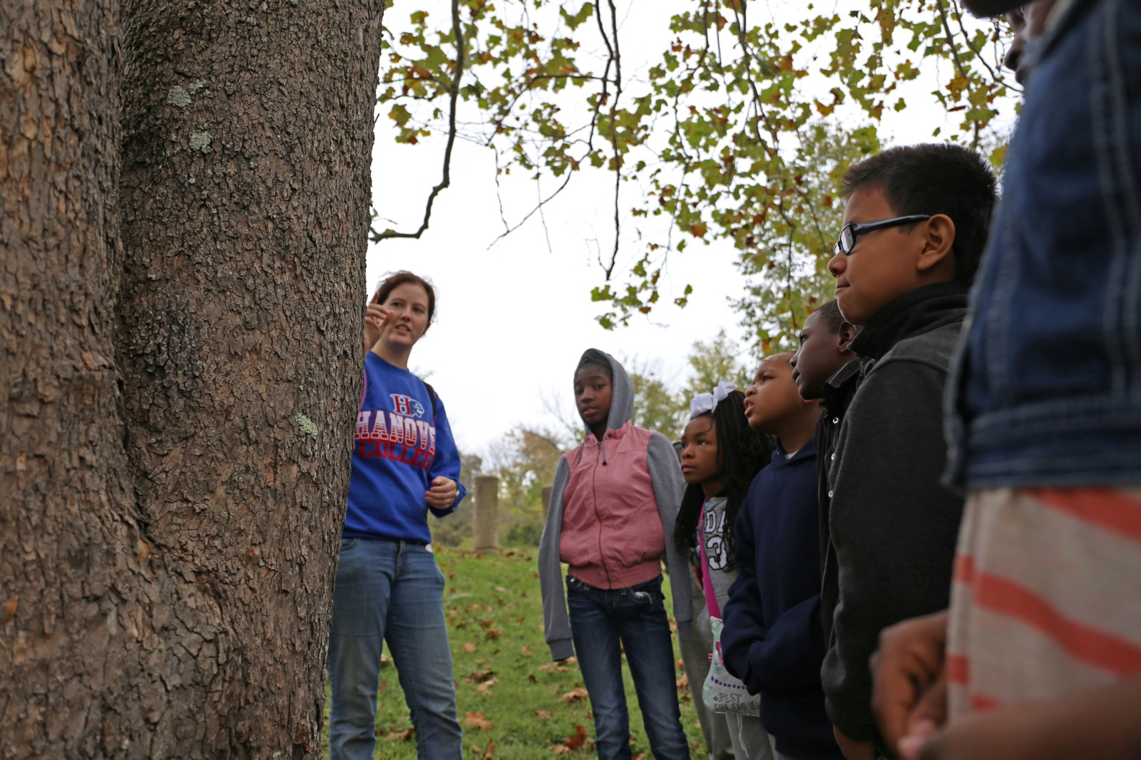 an instructor teaches 6 youth about different types of trees in their local park