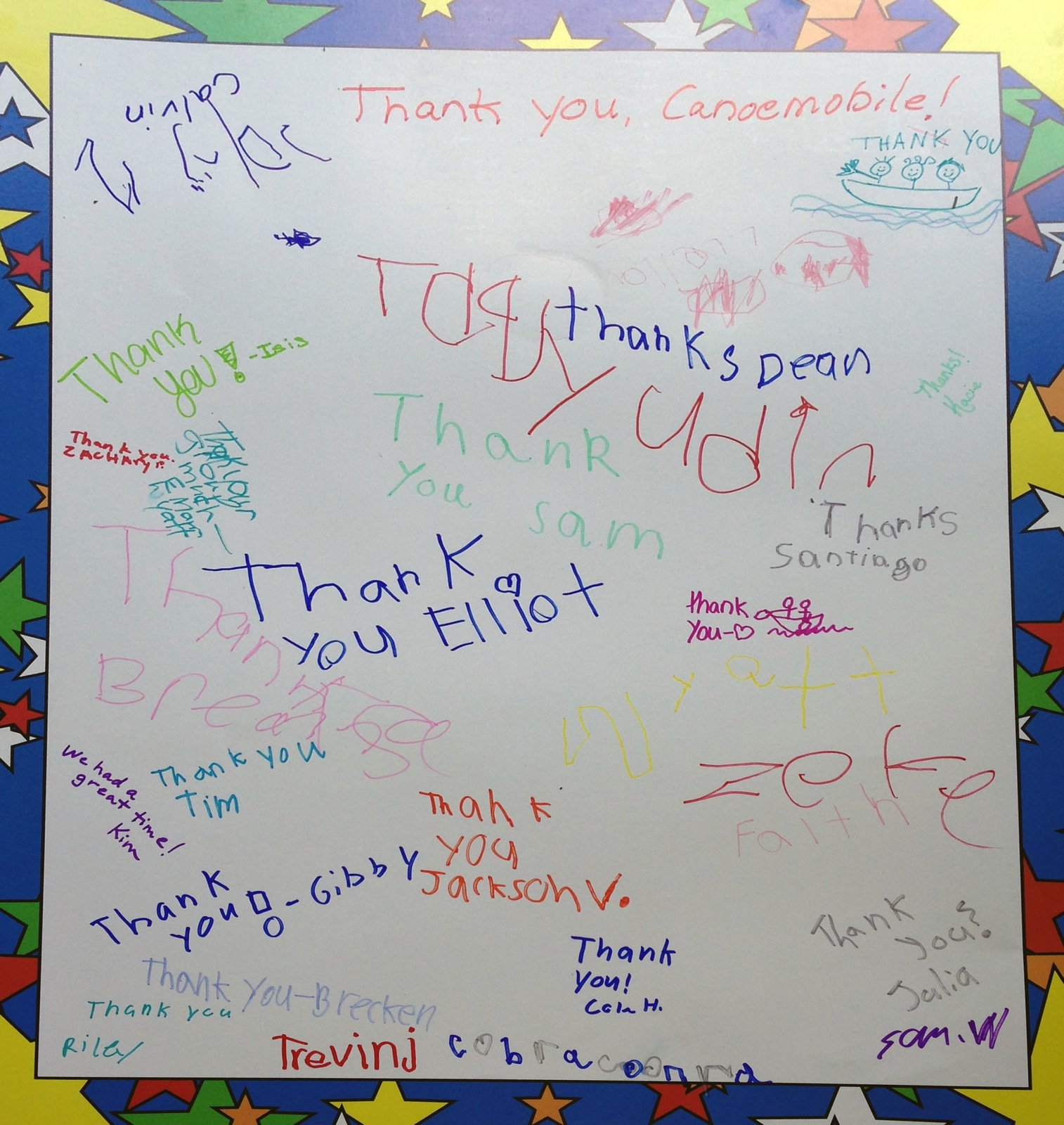 A thank you card from the students in Mankato