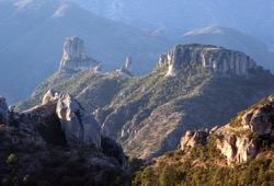 View of the stunning green mountains and valleys of Copper Canyon.
