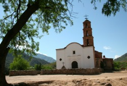 This large brick church is the lost Cathedral of Satevo in a valley near Batopilas.