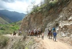 The group rides horses at the bottom of Copper Canyon, Mexico.