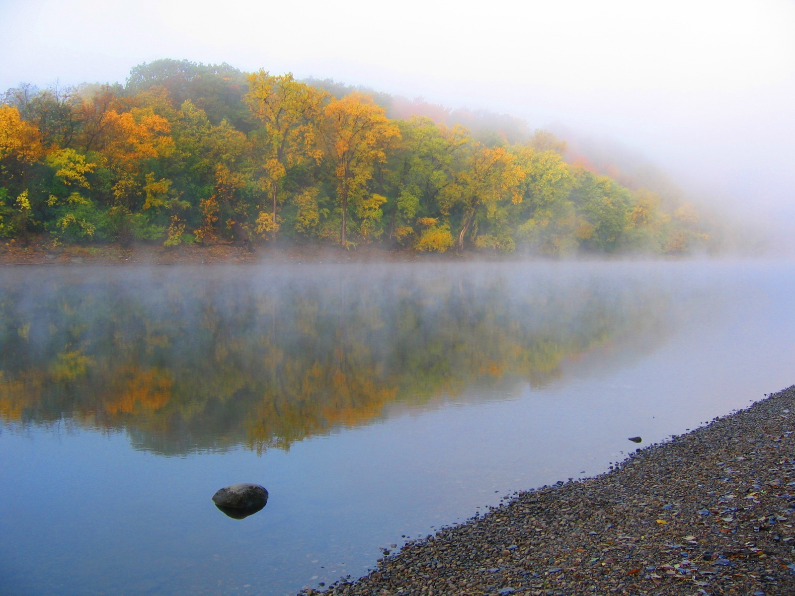 still, foggy morning near Hidden Falls along the Mississippi River ...