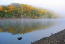 A still, foggy morning near Hidden Falls along the Mississippi River in autumn.