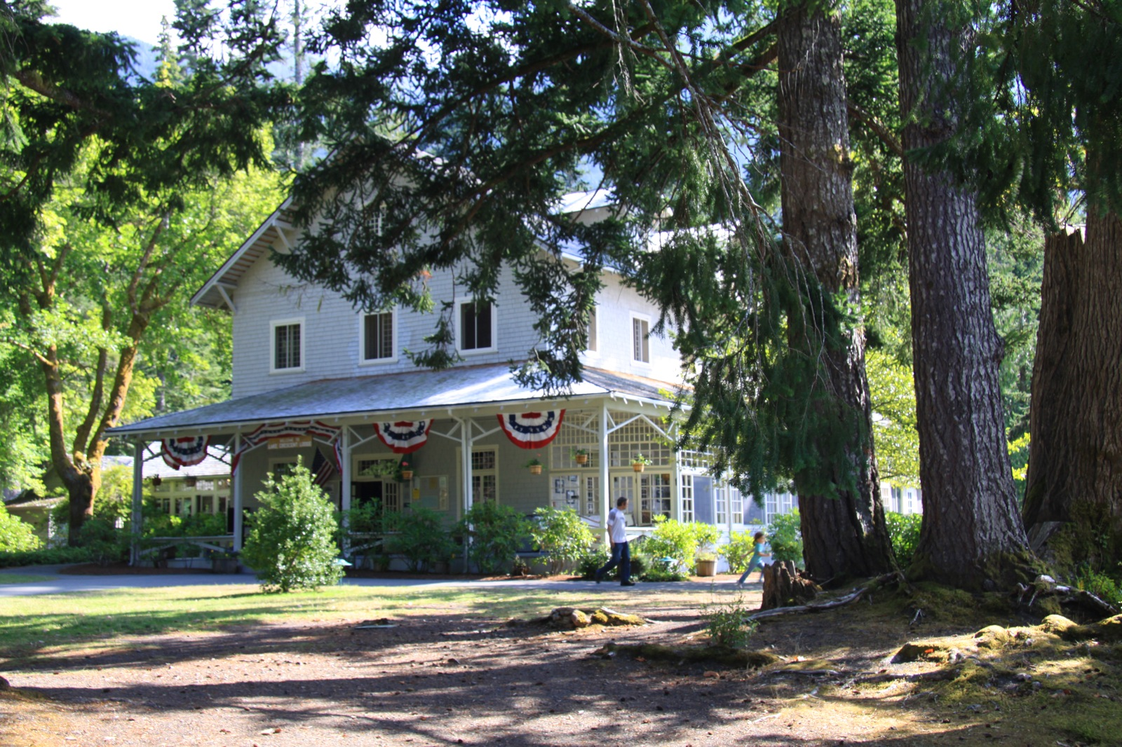 The stunning Crescent Lake Lodge is a large, old, wooden building surrounded by the giant trees of Olympic National Park.