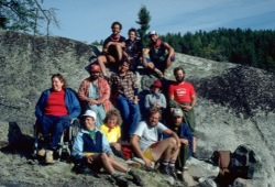 The Wilderness Inquiry group poses on a huge rock at the end of a White Otter Wilderness trip near Eye Lake Portage.