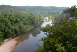 Tyler Bend overlook on the Buffalo National River provides a great view of the river and the green rolling hills surrounding it.