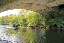 three canoes paddle along the river underneath a bridge