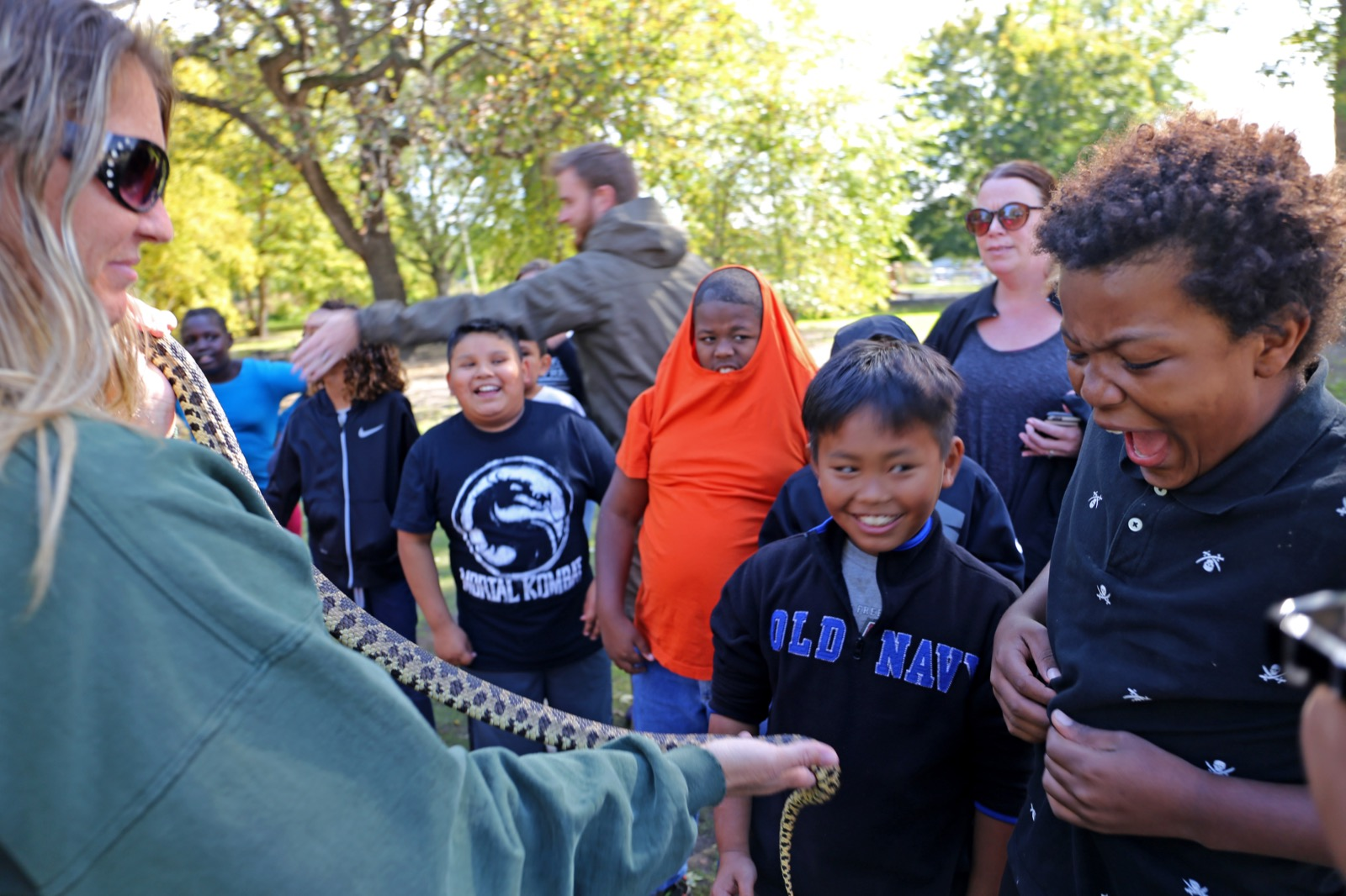 Students seeing a snake
