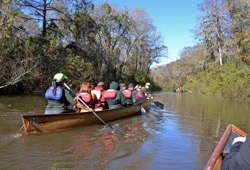 three groups of staff and participants paddle the canoes along a narrow river