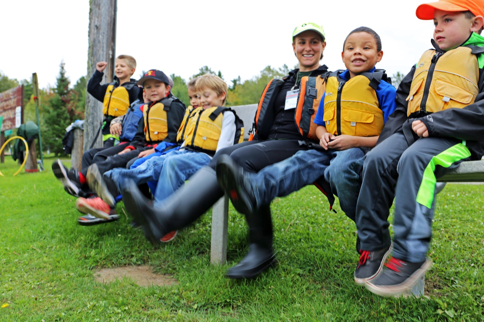 Students from Tower get ready to go out in canoes.