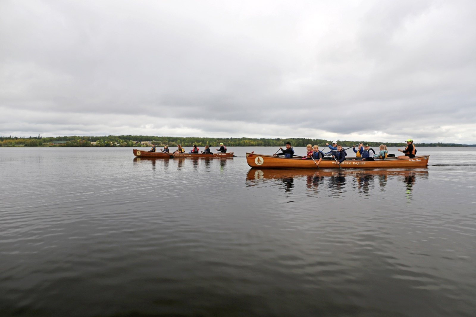 Students from Tower paddle on Lake Vermillion