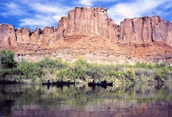 Three canoes in the shadows of red rock cliffs on Utah's Green River.