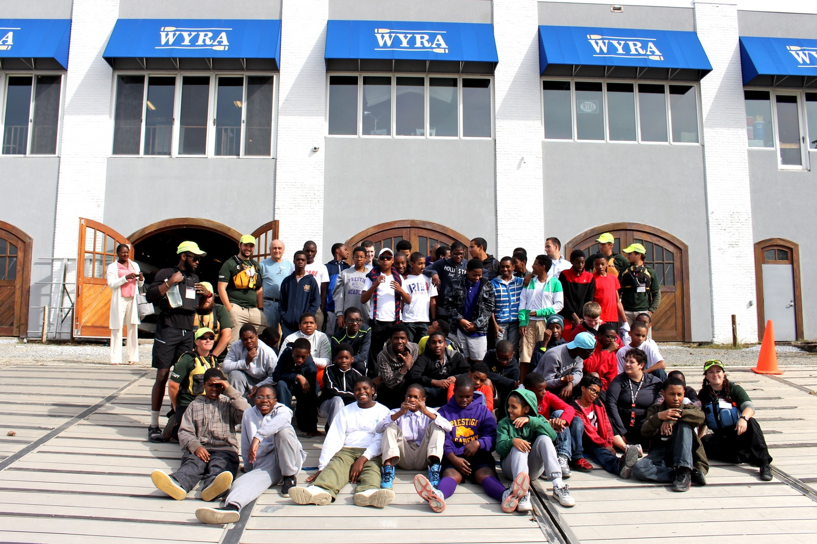 group photo of participants and staff members outside of the WYRA building in Wilmington