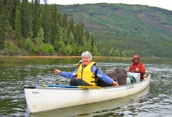 Two participants enjoy a relaxing canoe ride along the Big Salmon River